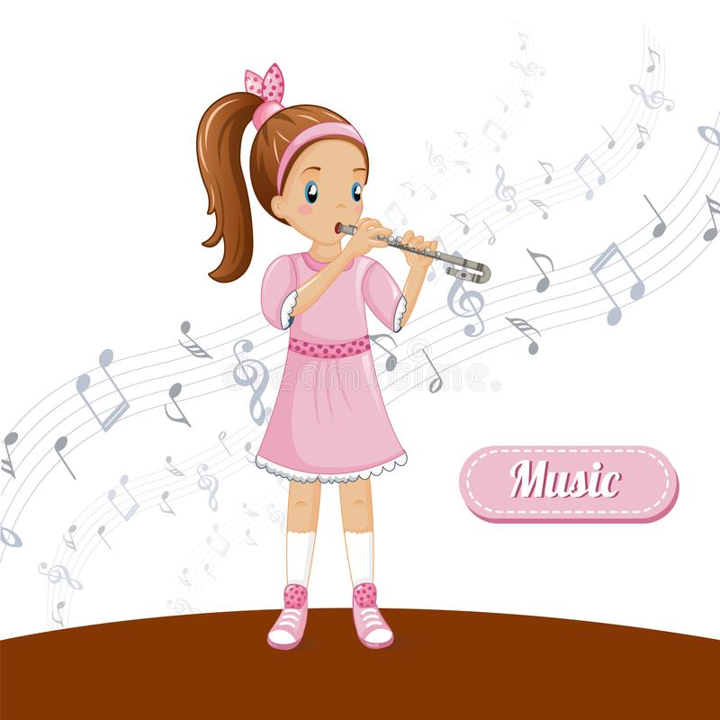 Girl flute talent music concept background, cartoon style. Girl flute talent music concept background. Cartoon illustration of girl flute talent music vector royalty free illustration