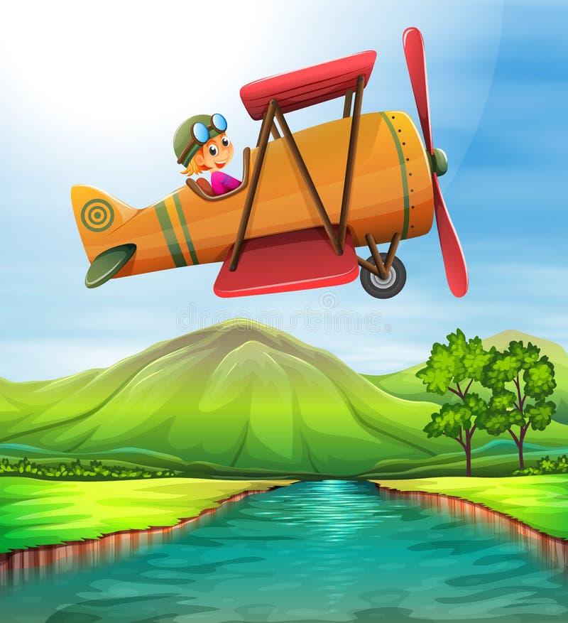 Girl flying airplane over the river stock illustration