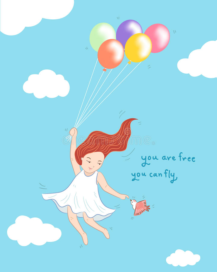 Girl flying with ballons and bird concept illustration vector illustration
