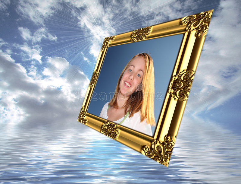 Girl In Flying Frame. Sending pictures concept in a fun, magical abstract of young girl in a gold frame flying in the beautiful blue cloudy sky over water royalty free stock photo