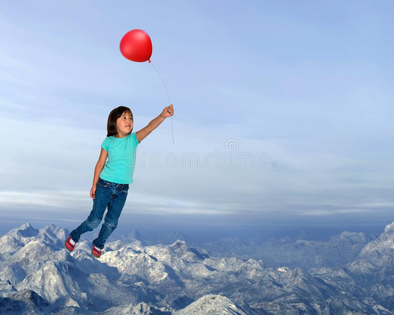 Girl Flying, Imagination, Red Balloon. A young girl is flying through the sky with her imagination and a red balloon. Having fun during play time is a part of royalty free stock photography