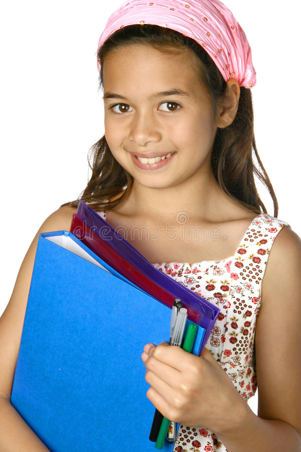 Download Girl With Folders, Ready For School. Stock Photos - Image: 5967763
