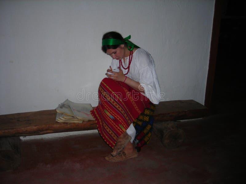 Girl in folk dress. Ukrainian traditional clothes. royalty free stock photos