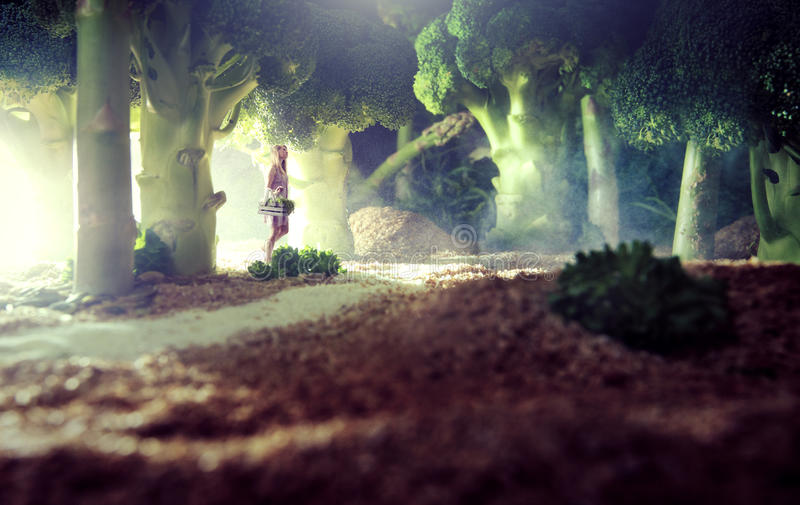 Girl in the food forest. Woman in vegetable / food world royalty free stock photo