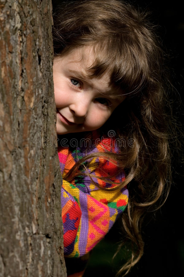 Girl in the forest royalty free stock photography