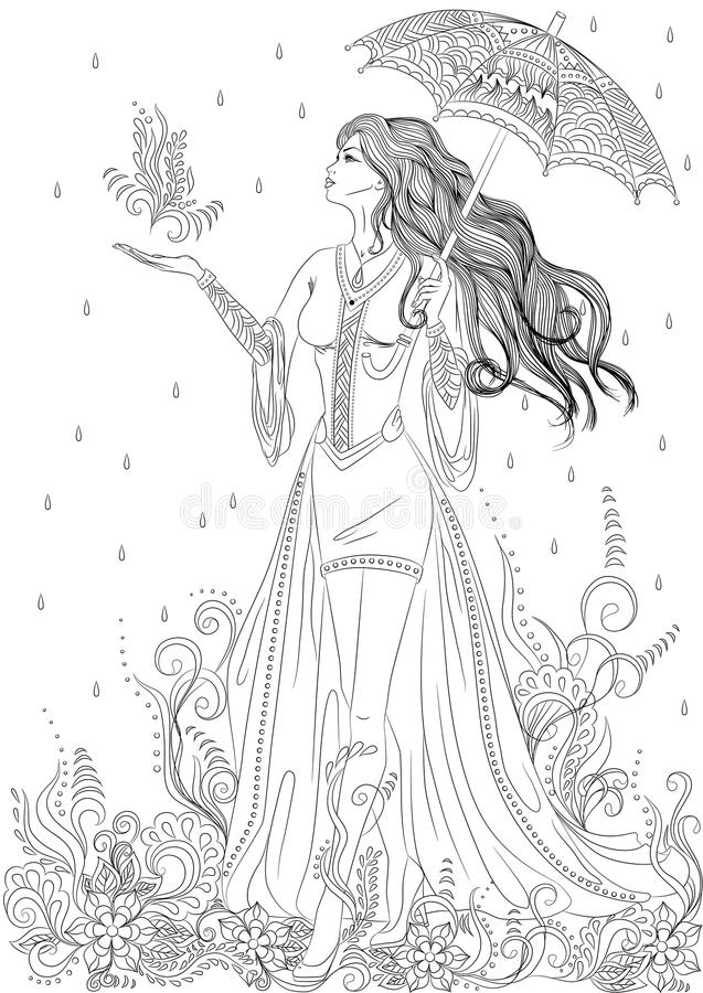 Girl in the form of flora. Line art. Vector illustration of a beautiful girl in the form of flora with long hair walking under an umbrella. Isolated on white stock illustration