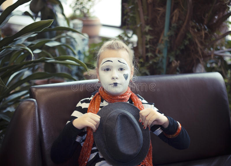 Girl in the form of mime actor. Pretty Girl in the form of mime actor stock photo