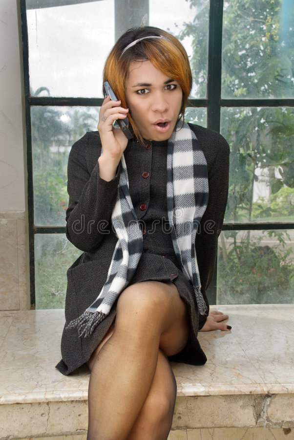 Download Girl In Formal Dress Calling Stock Photo - Image: 7726918
