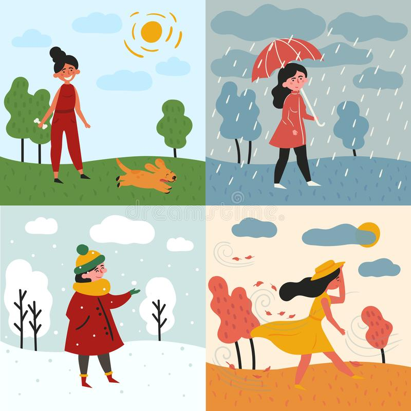 A girl and four seasons and weather. Snowy, rainy royalty free illustration