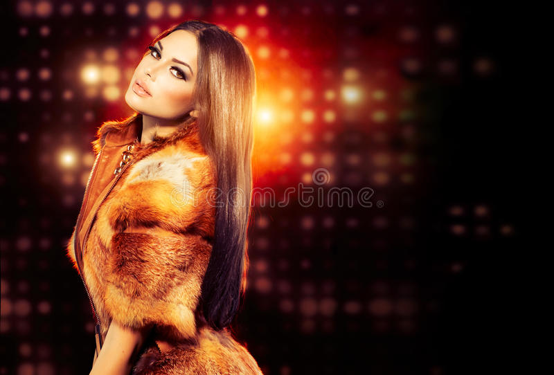 Download Girl in Fox Fur Coat stock photo. Image of gold, make - 33485338