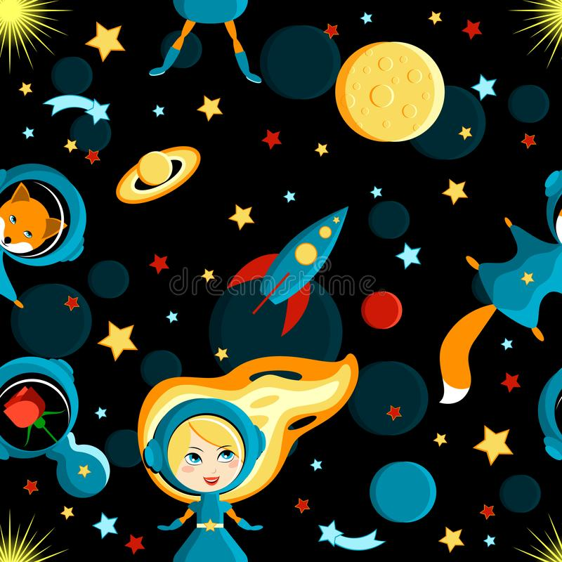 Girl with friends on the moon. Cartoon style. Seamless pattern. Girl, fox, rose in space suits. Moon, Sun, Saturn, Earth, other planets rocket Stars comets space vector illustration