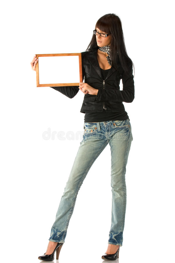 Girl with frame royalty free stock images