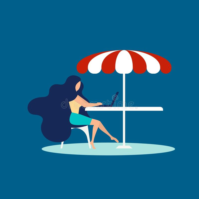 Girl freelancer at beach concept banner, flat style royalty free illustration