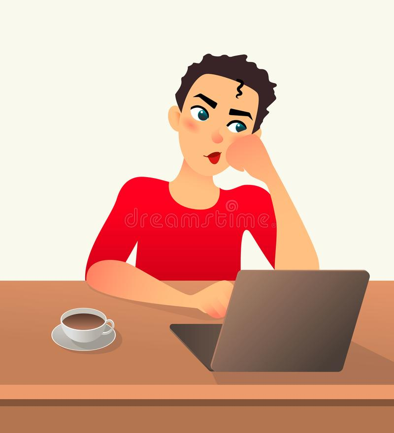 Girl freelancer bored. Young woman works at home sitting in front of a laptop. Cartoon flat girl working online or royalty free illustration
