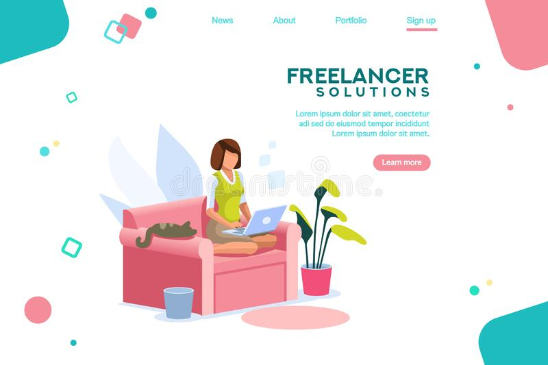 Girl Freelancer Working SofaTemplate Homepage royalty free illustration