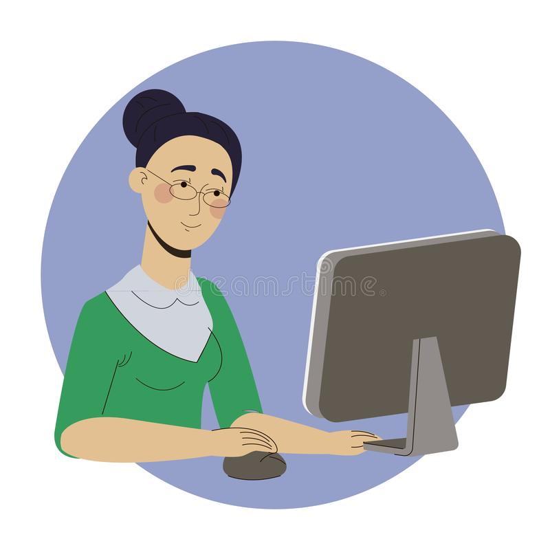 Girl freelancer working at home office web royalty free stock image