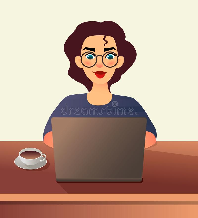Girl freelancer. Young woman in glasses works at home sitting in front of a laptop. Cartoon flat girl working online or stock illustration