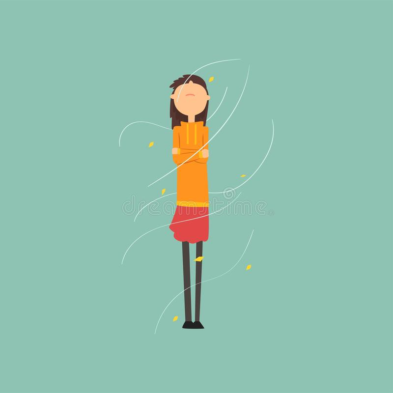 Girl freezing and shivering on a very windy day outdoors vector Illustration. Flat style royalty free illustration