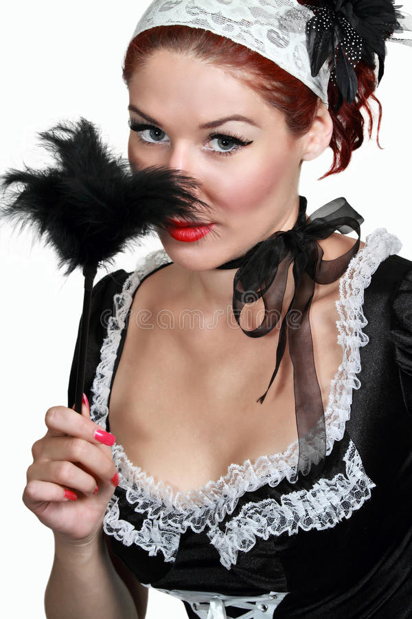 Girl in French maid stock photos