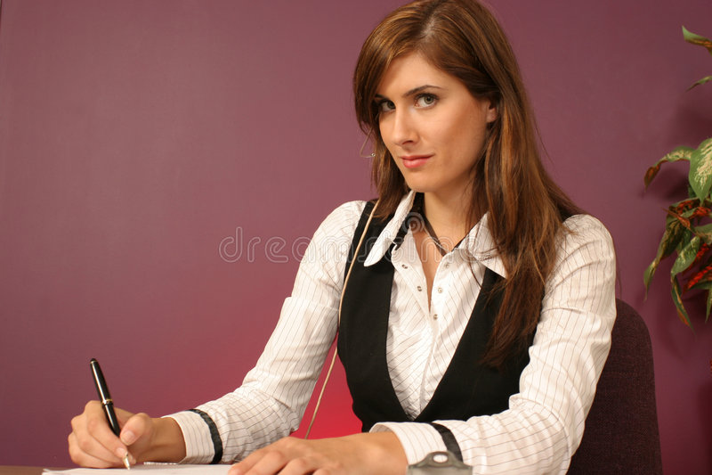 Download Girl Friday Writing Down The Information Stock Image - Image: 334201