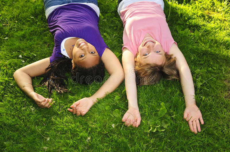Girl friends stock photography
