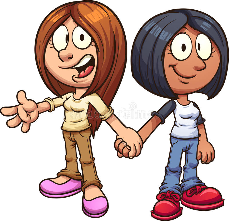 Girl friends royalty free illustration