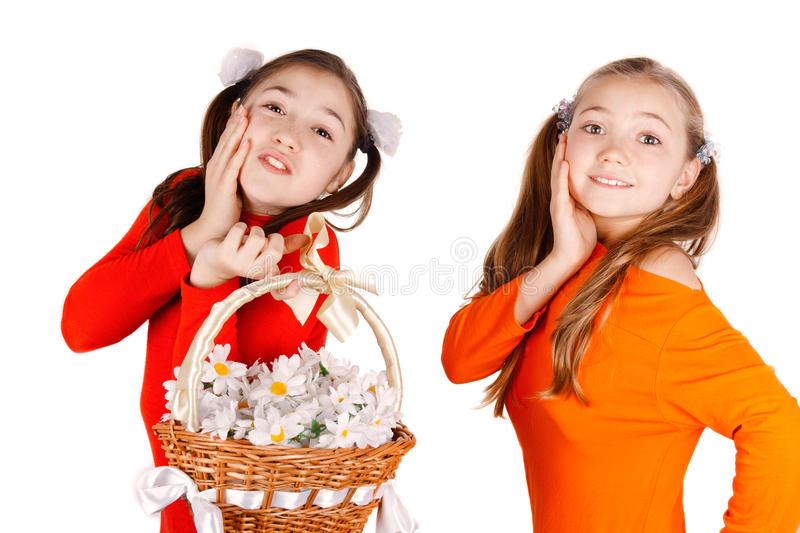 Download Girl Friends Give A Bouquet Of Flowers Stock Image - Image: 26645797
