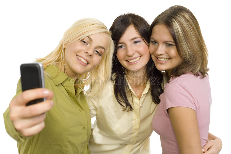Girl friends making picture royalty free stock photos