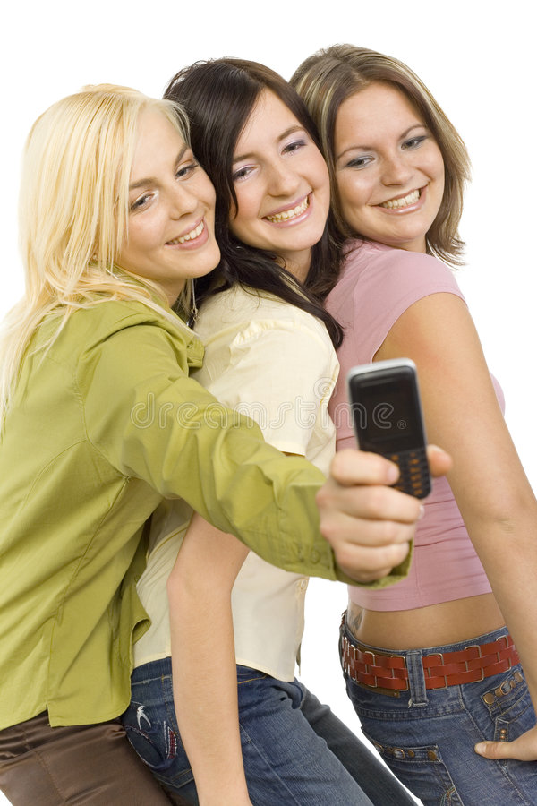 Girl friends making picture stock photography