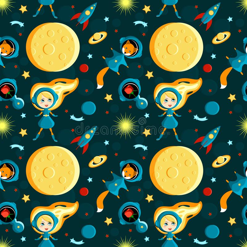 Girl with friends on the moon. Cartoon style. Seamless pattern. Girl with friends on the moon. A girl, a fox, a rose in space suits. Moon, Sun, Saturn, Earth stock illustration