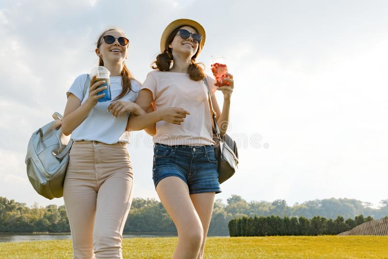 Girl friends are walking in the park in nature. Girls walk along the green lawn, talk, have fun stock image
