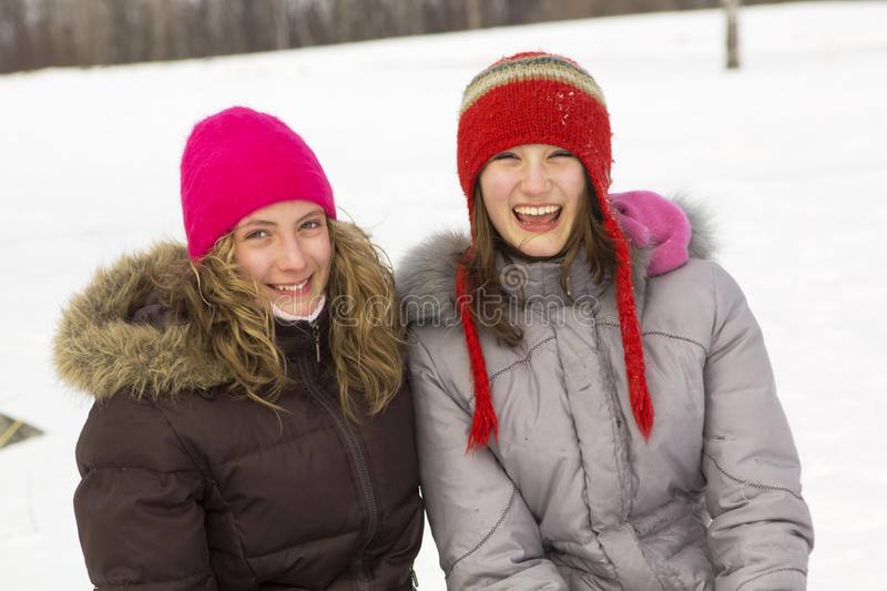 Girl Friends In Winter Stock Photography