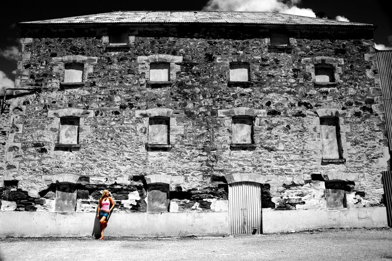 Download Girl Standing In Front Of Old House Stock Image - Image of juxtaposition, historic: 474819
