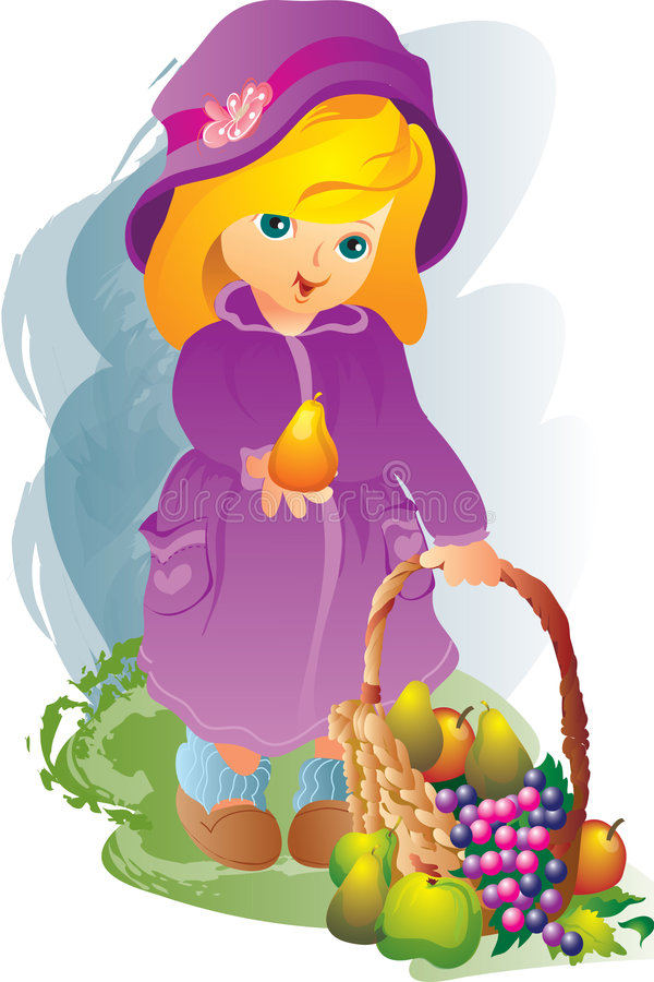 girl and fruit stock illustration