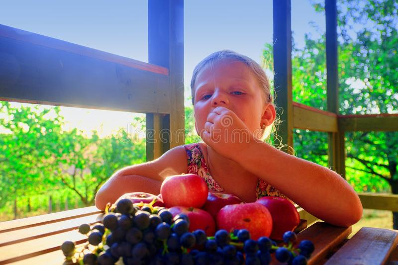 Girl with fruit in the garden. Beautiful little farmer girl holding and eating organic fruits, grapes, apples. The royalty free stock images