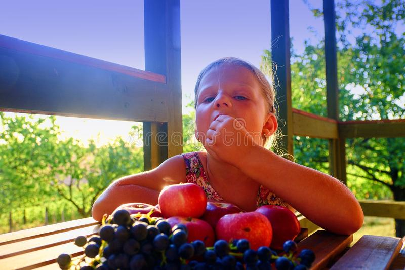 Girl with fruit in the garden. Beautiful little farmer girl holding and eating organic fruits, grapes, apples. The stock image