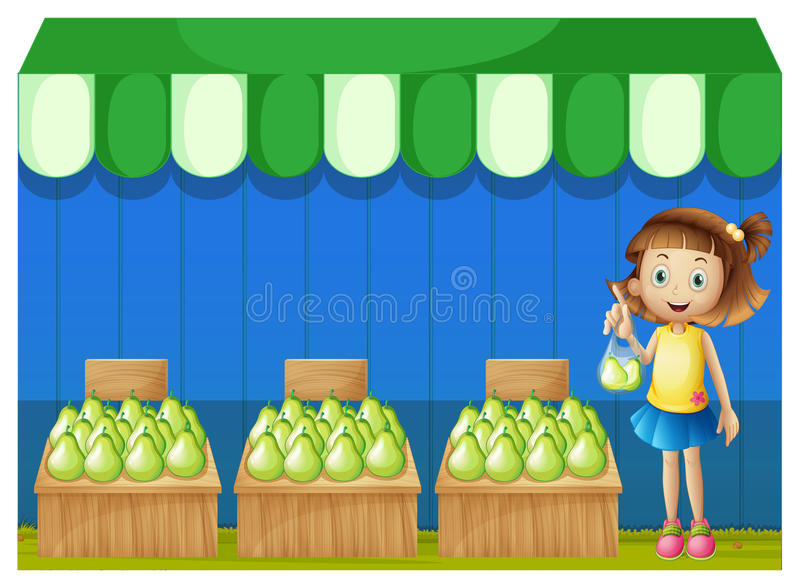 A girl at the fruit market stock illustration