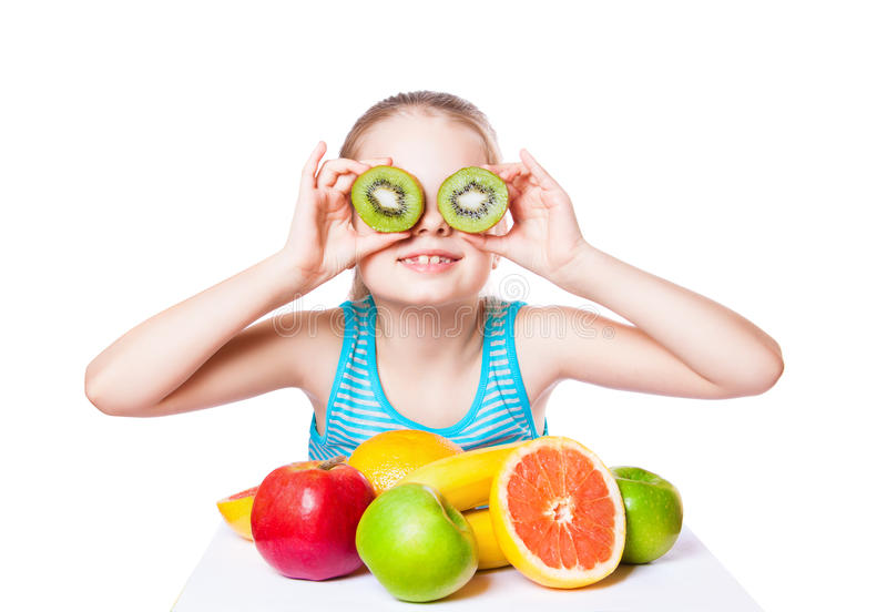 Girl with fruit stock photo