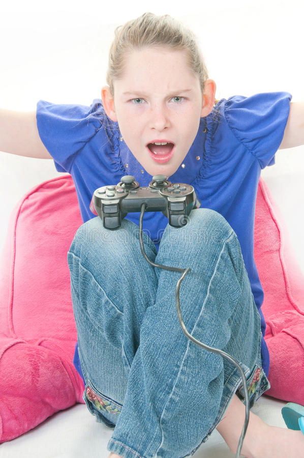 Girl Frustated With Video Game Stock Photo