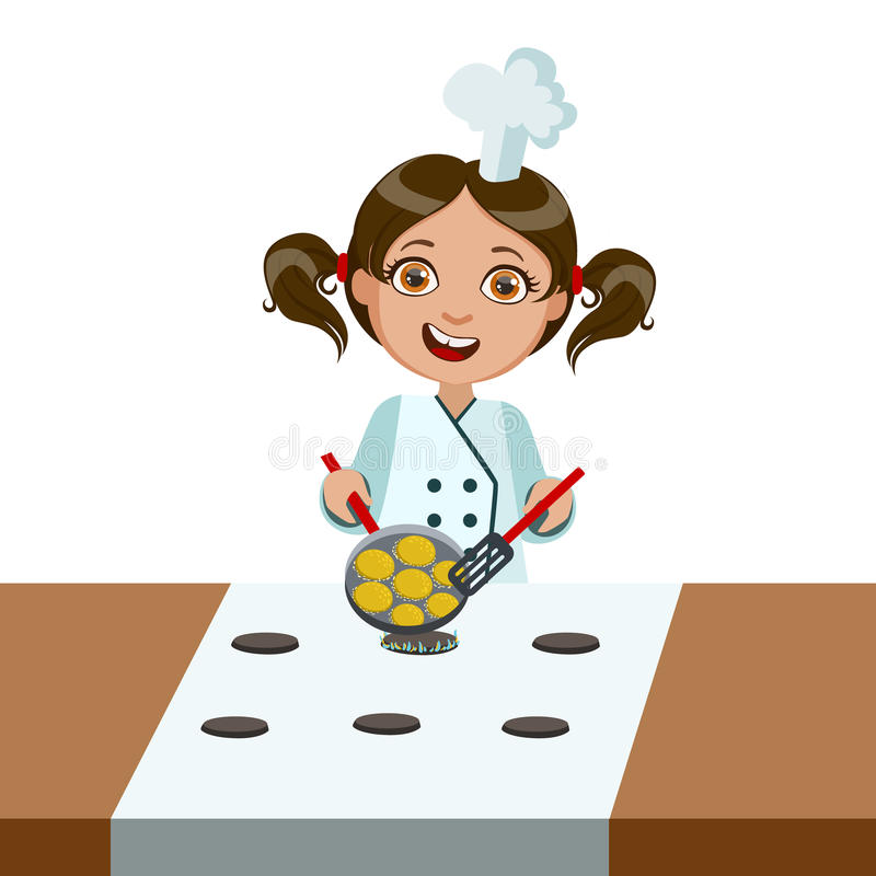 Girl Frying Nuggets On Electric Stove, Cute Kid In Chief Toque Hat Cooking Food Vector Illustration. Young Child Wanting To Become A Cook In Cooking Class stock illustration