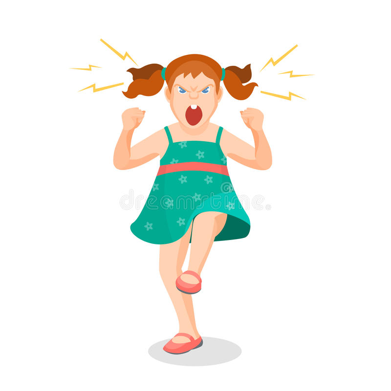 Girl full of anger is shouting something with aggression. Vector colorful flat illustration vector illustration
