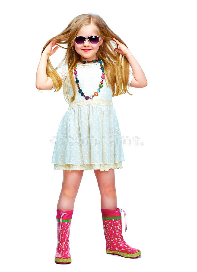 Girl full body isolated portrait in fashion style. Long blond hair royalty free stock image