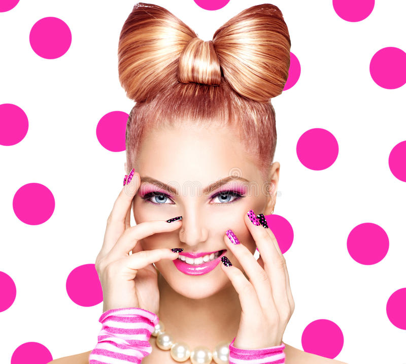 Girl with funny bow hairstyle. Beauty fashion model girl with funny bow hairstyle stock photography