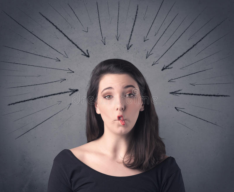 Girl with funny facial expression stock images