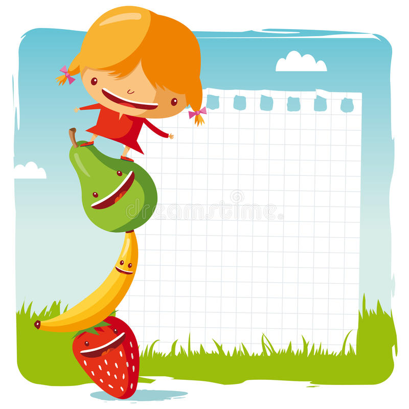Girl with funny fruits royalty free illustration