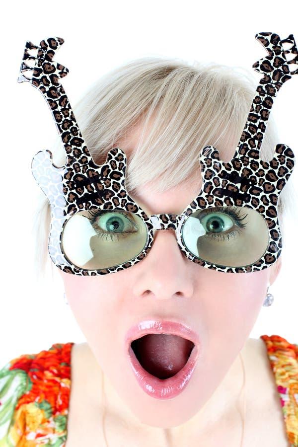 Girl in funny glasses stock photos