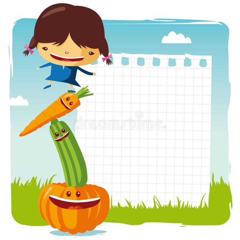 Download Girl with funny vegetable stock vector. Image of sign - 19595753