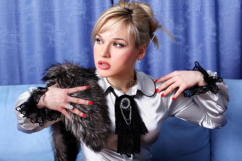 Download Girl with fur stock image. Image of blue, retro, erotic - 10082623