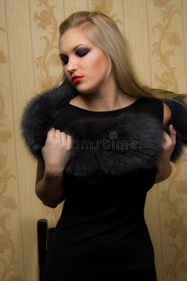 Girl with fur royalty free stock images