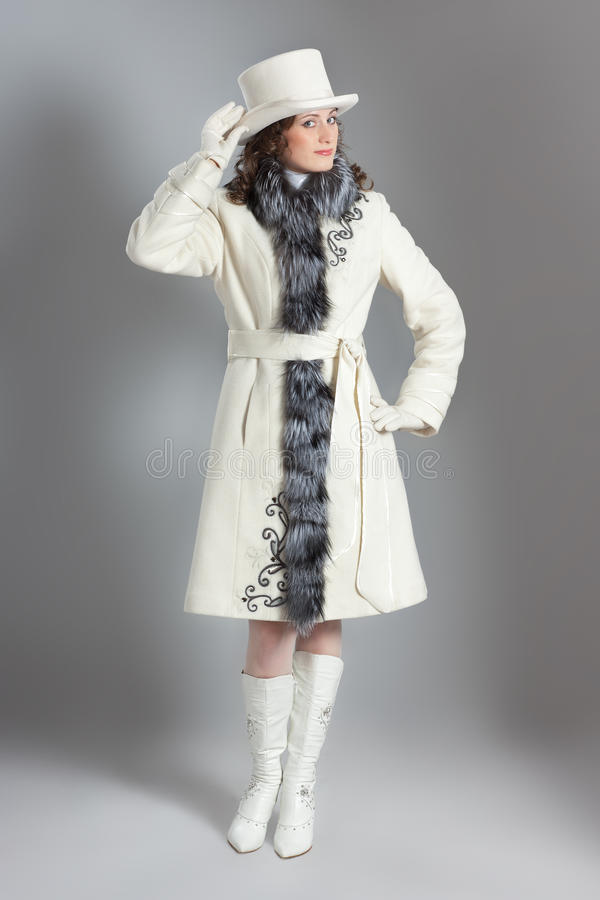 Girl In Fur Coat Royalty Free Stock Photography